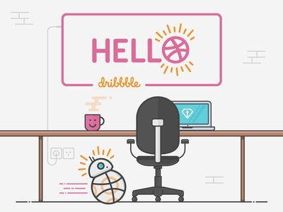 Hello Dribbble plug market sargatal debut laptop chair desk bb-8 dribbble hello