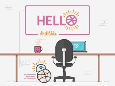 Hello Dribbble plug market sargatal debut laptop chair desk bb-8 dribbble hello