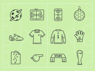 Soccer Planet Icons beer glove shirt shoe lab media mobile tv planet football soccer icons