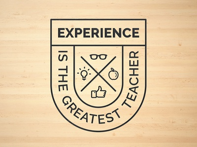 UX Workflow - Experience is the greatest Teacher culture branding like brand modern icons badge insigna experience ux