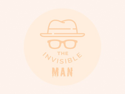 The Invisible Man design icon fun spooky orange halloween sunglasses hat flat man invisible badge