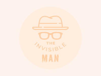 The Invisible Man design icon fun spooky orange halloween sunglasses hat flat man invisible badge