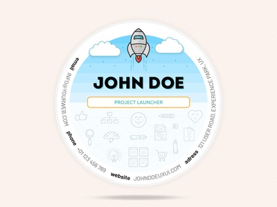 UX Circle Business Cards business card icons rocket sky designer brand print ux networking illustration circular