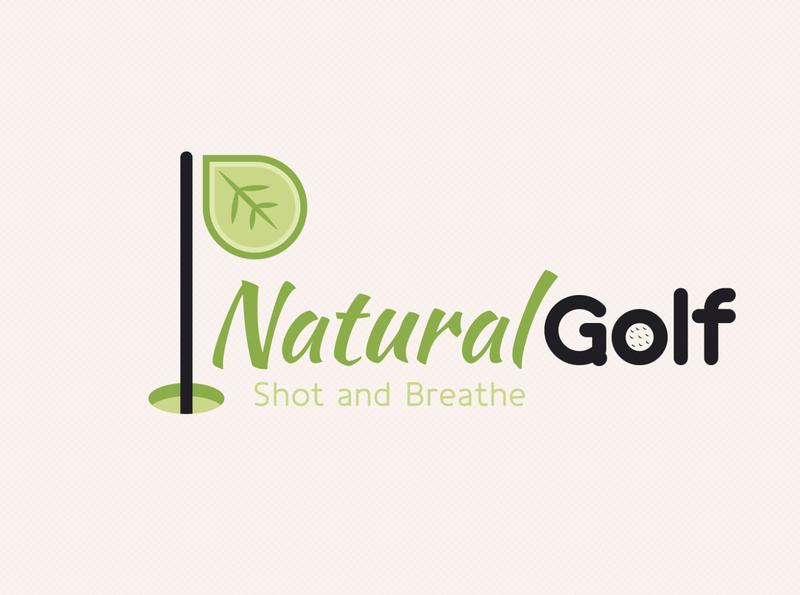 Natural Golf Logo brand fun flagstick ball sport eco nature leaf green golf logo