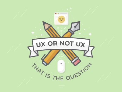 Ux or not Ux - That is the Question vector research feather pencil green emoji badge illustration ui ux