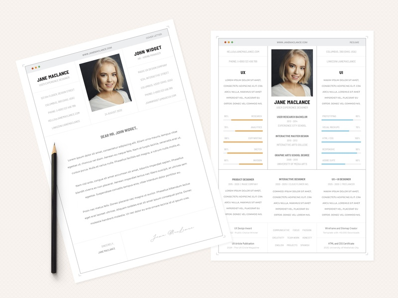 UX UI - CV Resumee sophisticated ui ux job letter cover cv curriculum resume