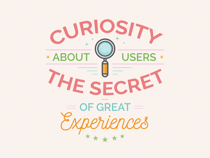 UX Workflow - Curiosity About Users illustration modern magnifying glass secret curiosity users persona experience vector badge workflow