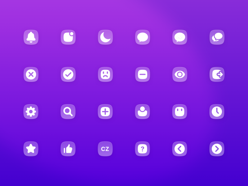 Smooth icon set user chevron thumbs up star search settings clock message moon bell library shape icons