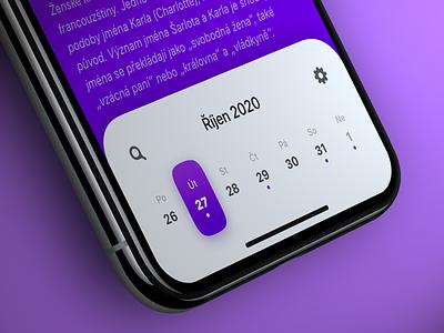 Calendar panel days icons violet calendar app ios app ios