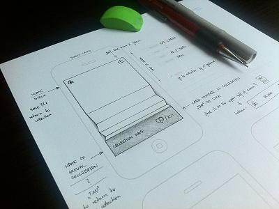 dirty sketching pencil wireframe mockup iphone app sketch
