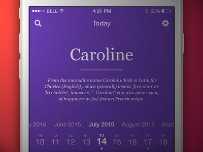 Name app violet name timeline date scroll ios app iphone