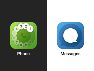 Basic iOS icons app blue green shapes circle messages phone icon ios