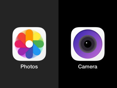 iOS circular icons: Photos & Camera