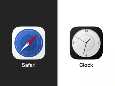 Circular Safari and Clock iOS icons