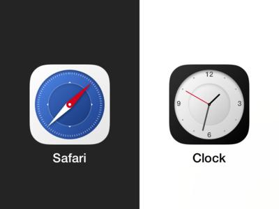 Circular Safari and Clock iOS icons shape circle time clock safari icon ios