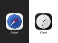 Circular Safari and Clock iOS icons