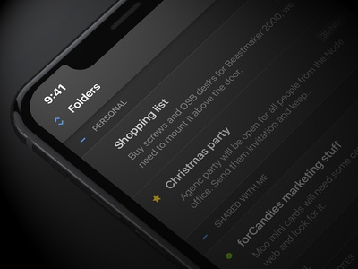 WIP: iOS notes app concept notes list app ios dark