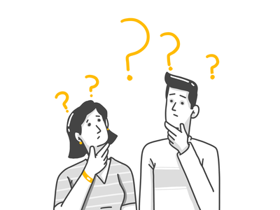 Confused faces learn more man lady lady and man cartoon character design illustration character enthusiastic confused