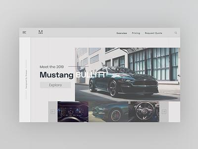 Car Landing Page design minimal ford ford mustang cars car landing page ui  ux ui