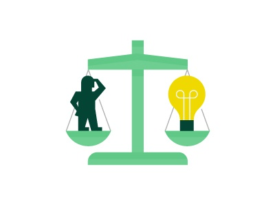Navigating Patent Law patent idea light lightbulb person character scale law illustration seek find lawyer