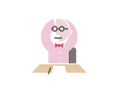 Wall Of Wally illustration wall wally olins pink person desk bowtie glasses minimal geometric