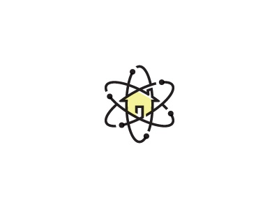 Home Science Icon logo icon home house building science molecule atom smart door roof chimney