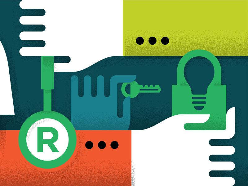 Trademark Illustration lightbulb illustration trademark shadow hands key lock