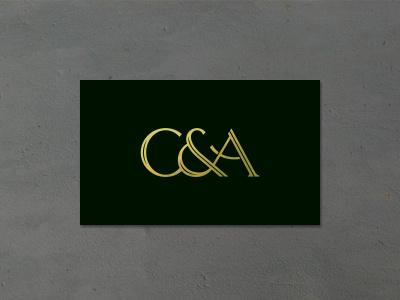 C&A Monogram Logo custom typography card ligature a c ampersand gold dark black monogram logo
