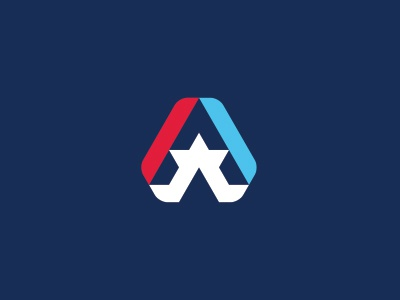Corporate America Logo triangle generic corporate states united blue white red star letter logo america