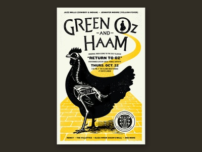 Return to Oz Poster music concert austin poster road brick yellow chicken hen wizard oz return