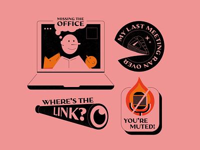 Zoom Lyfe vector covid remote drawing art badge stickers illustraton