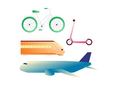 Transportation Bits design transportation transport gradient vector travel illustrator illustration