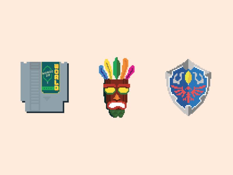 Retro stickers for MongoDB World gaming 8 bit pixel art pixel stickers