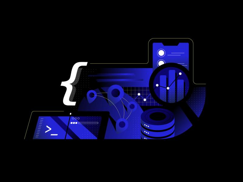 Data Platform vector gradient illustration web data
