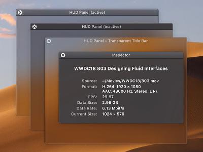 macOS Mojave-Style HUD Panels mojave macos sketch ui