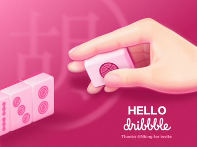 Hello Dribbble mahjong illustration