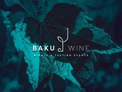 Baku wine night branding typography illustration vector logo