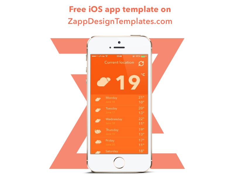 Weather App Freebie on ZappDesignTemplates.com ios app ios 7 iphone zappdesigntemplates ui ux freebie free template user interface