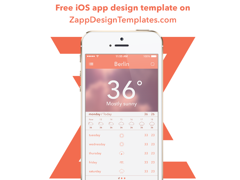 facebook app template psd - free weather ios app psd by szab dribbble