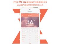 Free Weather iOS app PSD