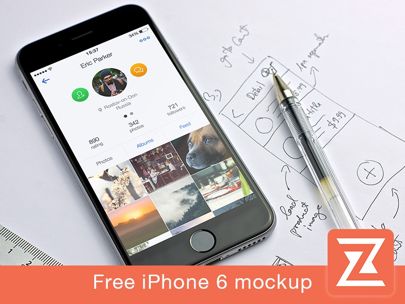 Free iPhone 6 Mockup interface psd mockups template freebie free ios zappdesigntemplates iphone ui mockup