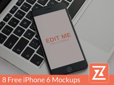 8 Free iPhone 6 Mockup Bundle