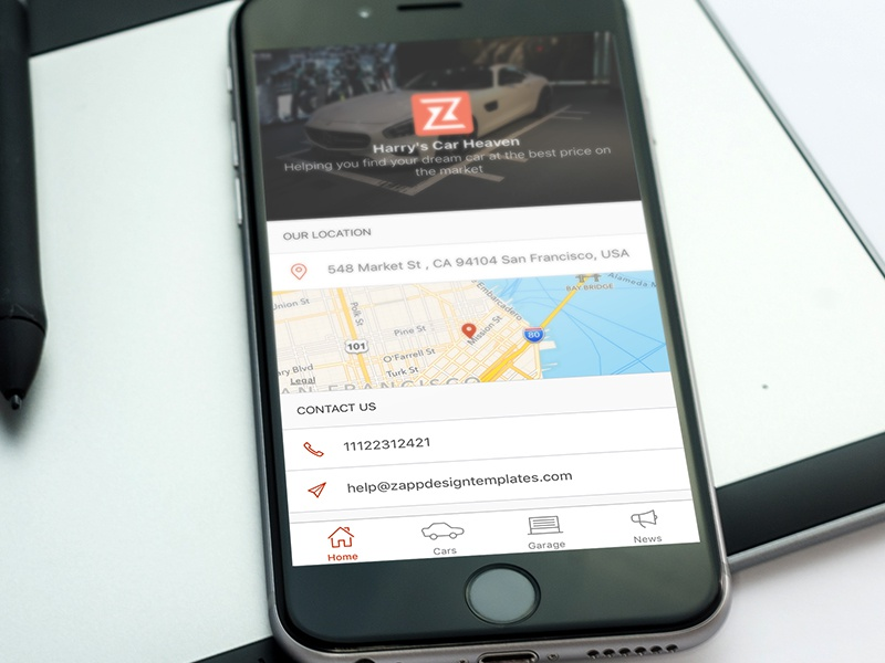 Car Dealer iOS app - Home map iphone mobile home dealership dealer car ux ui ios