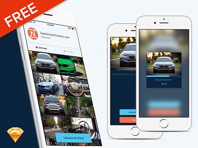 Free iOS Car screens in Sketch layout car sketch iphone mobile screen ui ios