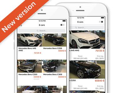 Car Dealer iOS App - New version layout list grid dealer car design ui ios