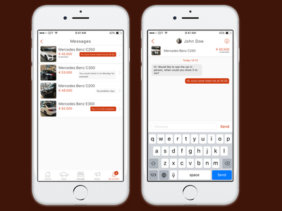 CarDealer iOS app template - Messaging Feature mobile iphone app chat message ux ui template ios