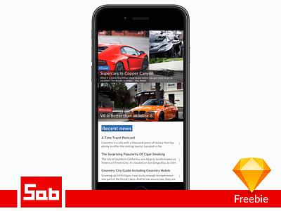 CarNews iOS app screen - Sketch Freebie iphone layout cars freebie free sketch ux ui ios