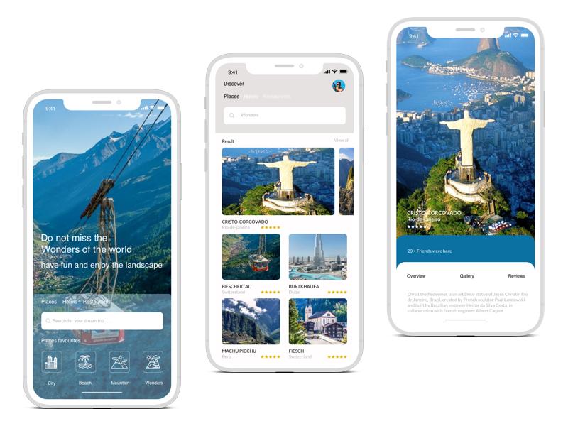Travel app typography branding app icon ux ui design