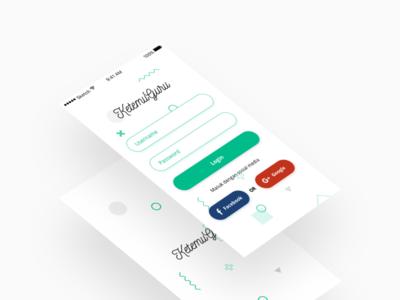 Simple Login Screen (Ketemu Guru App) clean mobile design design ux ui mobile login