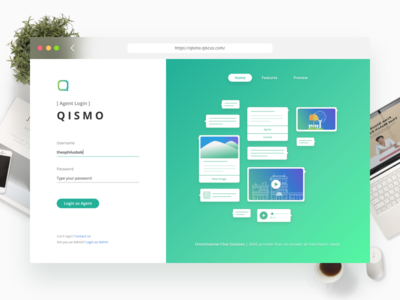 Qismo Project: Agent Login Page figma sketch ux ui landing page ui design clean web design